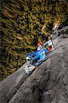 Two rock climbers on portaledges on triple direct, El Capitan, overhead view, Yosemite Valley, California, USA