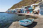 Colourful fishermen's boat houses, Klima, Milos, Cyclades, Aegean Sea, Greek Islands, Greece, Europe