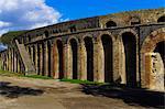 Side entrance to the ruins of the stone built Roman Anfiteatro di Pompeii (Amphitheatre), capacity 20000 people, Pompeii, UNESCO World Heritage Site, Campania, Italy, Europe