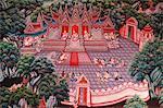 Narada Jataka, one of the Buddha's former lives depicted in fresco at Wat Ampharam, Hua Hin, Thailand, Southeast Asia, Asia