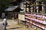 Stone lanterns and heart-shaped votives wishing good luck to new marriages at Kasuga Wakamiya Shrine in Nara, Honshu, Japan, Asia