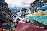 Mantra flags on mountain top, Dêngqên, Xizang, China