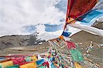 Mantra flags on mountain, Gyangzê, Xizang, China