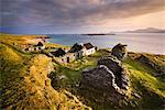 Ruins of village on Great Blasket Island, Dingle, Kerry, Ireland