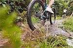 Man mountain biking, riding through puddle in woods