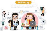 Broken Leg, infographics. Vector illustration on white background