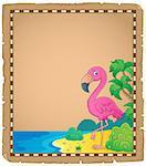 Flamingo topic parchment 1 - eps10 vector illustration.