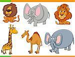 Cartoon Illustration of Safari Animals Funny Characters Set