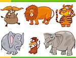 Cartoon Illustration of Animals Species Characters Set