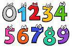 Educational Cartoon Illustrations of Basic Numbers Characters Set