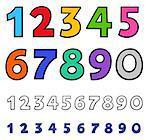 Educational Cartoon Illustrations of Basic Numbers Set
