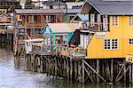 Palafitos, colourful stilt houses on water's edge, unique to Chiloe, Castro, Isla Grande de Chiloe, Chile, South America