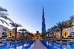 Burj Khalifa and Palace Hotel at dusk, Downtown, Dubai, United Arab Emirates, Middle East