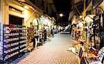 Tourist shopping street at night, Chania, Crete, Greek Islands, Greece, Europe