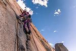 Rock climbing, Cardinal Pinnacle, Bishop, California, USA