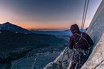 Rock climber, Cardinal Pinnacle, Bishop, California, USA
