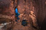 Trad climbing, Indian Creek, Moab, Utah, USA