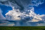 Beautiful supercell storm drops rain and hail in microburst near Chappell, Nebraska, rain foot curls upward