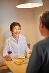 Japanese senior couple dining