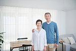 Japanese senior couple in the living room