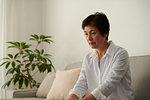 Japanese senior woman on the sofa