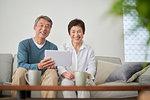 Japanese senior couple on the sofa