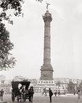 1920s COLUMN PLACE DE LA BASTILLE COLONNE DE JUILLET WITH SPIRIT OF LIBERTY STATUE ON TOP PARIS FRANCE