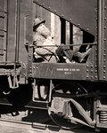 1920s 1930s SENIOR BEARDED MAN A HOBO RIDING RAILROAD FREIGHT TRAIN CAR GREAT DEPRESSION