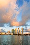 Skyscrapers seen from Watson Island, Miami, Florida, United States of America, North America