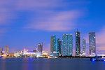 Night skyline of Downtown Miami from Watson Island, Miami, Florida, United States of America, North America