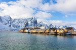 Typical fishermen's huts (Rorbu), Sakrisoy, Lofoten Islands, Nordland, Norway, Europe