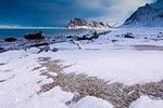 Uttakleiv Beach covered with snow, Vestvagoy, Lofoten Islands, Nordland, Norway, Europe