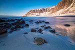 Unstad beach, Vestvagoy, Lofoten Islands, Nordland, Norway, Europe