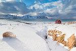 Wood cabin on sand beach covered with snow, Ramberg, Flakstad municipality, Lofoten Islands, Nordland, Norway, Europe