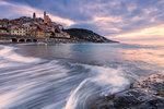 Waves on the beach of Cervo at sunrise, Cervo, Imperia province, Liguria, Italy, Europe