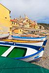 Colourful boats on the beach of Cervo, Imperia province, Liguria, Italy, Europe