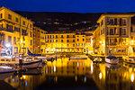 Twilight at the harbour of Castelletto, Brenzone sul Garda, Lake Garda, Verona Province, Veneto, Italian Lakes, Italy, Europe