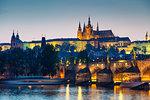 Prague Castle and St. Vitus Cathedral above Vltava River, Prague, UNESCO World Heritage Site, Bohemia, Czech Republic, Europe