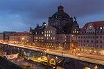 National Theatre at dusk, Nuremberg, Bavaria, Germany, Europe