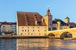 View to the Stone Bridge and the Bridge Tower, Regensburg, Bavaria, Germany, Europe