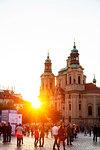 Old Town Square, St. Nicholas Church, Prague, UNESCO World Heritage Site, Bohemia, Czech Republic, Europe