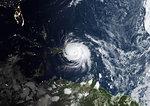 Satellite image of Hurricane Maria in 2017 over Puerto Rico. Image taken on September 21, 2017.