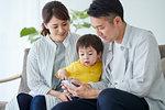 Japanese family on the sofa