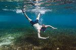 Young man snorkeling underwater, Vava'u, Tonga, Pacific Ocean
