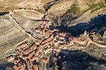 Aerial view of the medieval town of Albarracin. Albarracin, Teruel, Aragon, Spain, Europe