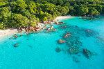 Aerial view of Anse Lazio beach. Praslin island, Seychelles, Africa