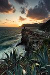 sunset in Vernazza, Cinque Terre, municipality of Vernazza, La Spezia provence, Liguria, Italy, Europe
