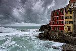seastorm in Riomaggiore, Cinque Terre, municipality of Riomaggiore, La Spezia provence, Liguria, Italy, Europe
