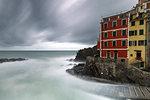 Cloudy day in Riomaggiore, Cinque Terre, municipality of Riomaggiore, La Spezia provence, Liguria, Italy, Europe