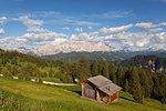 Longiarù, San Martino in Badia, Badia Valley, Dolomites, Bolzano province, South Tyrol, Italy. A chalet with Sasso della Croce in the background.